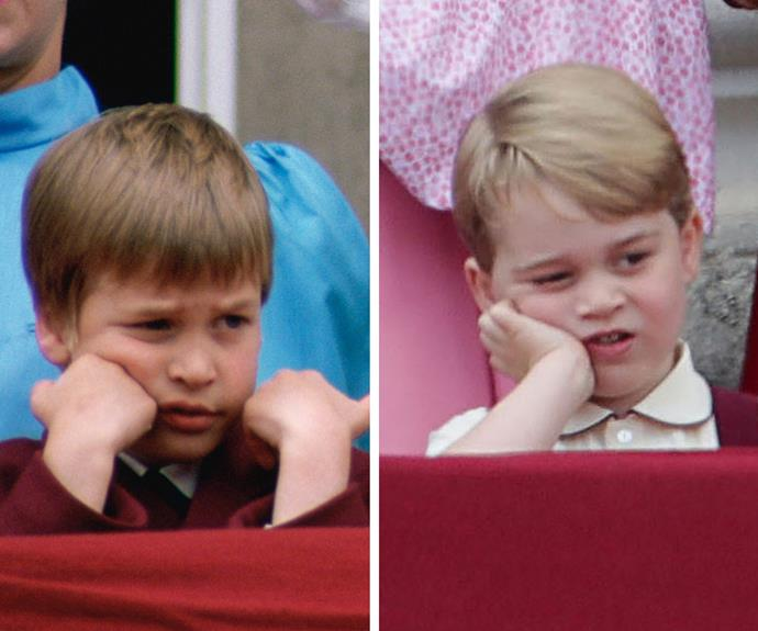 Like father, like son. Prince William (L) was just as indifferent as George during the 1988 Trooping the Colour.