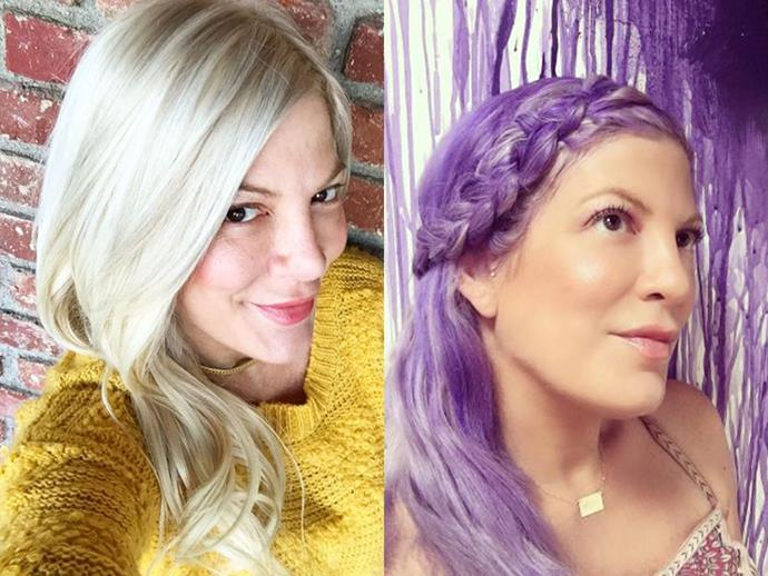"To celebrate her daughter Hattie, 5, starting school, mum-of-five Tori Spelling threw a celebration party and decided to dye her hair Hattie's favourite colour - vivid purple. ""#unicornmom #dontfreakitwashesout(ithink) #purplehairdontcare,"" she captioned the post. Now that's what you call commitment."