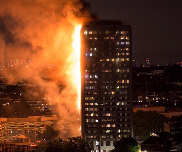 Grenfell Tower during the huge blaze.