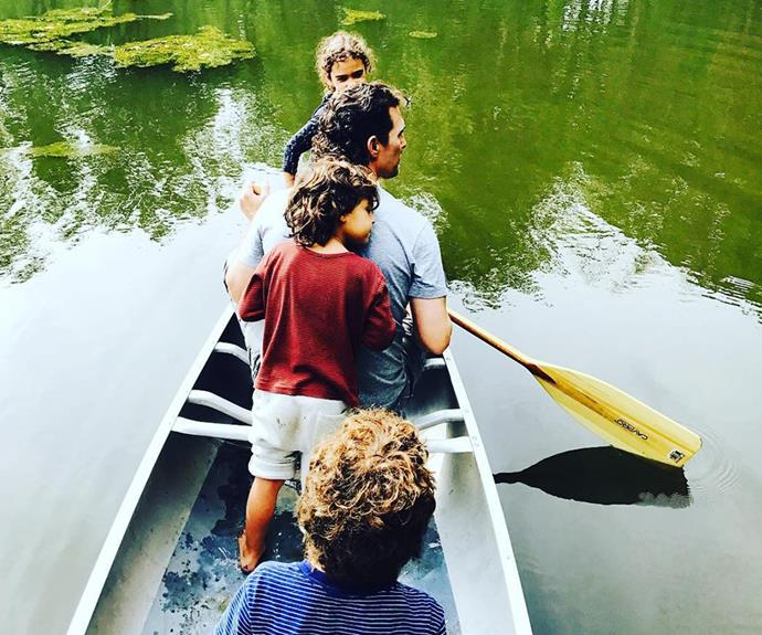 **Matthew McConaughey** enjoys some outdoors time with his three children Levi, eight, Vida, seven, and Livingston, four. This snap was posted by Matthew's wife Camila Alves as a tribute to the star on Father's Day.
