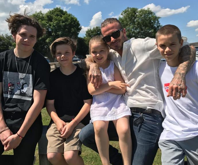"Victoria Beckham shared a message for her husband and the father of their four children Brooklyn, 18, Romeo, 14, Cruz, 12, and five-year-old Harper. ""The best daddy in the world!!! We all love u so,so much. X kisses from us all,"" she wrote alongside this never-before-seen family snap."
