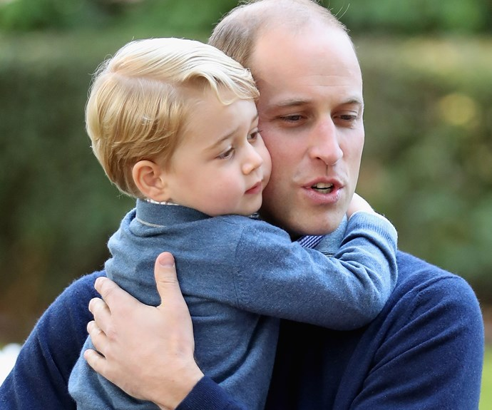 "When he's not too busy being a cute-as-a-button [royal rascal](http://www.nowtolove.com.au/royals/british-royal-family/trooping-the-colour-balcony-38353|target=""_blank""), **Prince George**, three, can often be found glued to his dad's side. Here, **Prince William**, gives his son a gorgeous cheek-to-cheek hug during the [Royal Tour of Canada](http://www.nowtolove.com.au/royals/british-royal-family/prince-george-princess-charlotte-depart-canada-royal-tour-2889