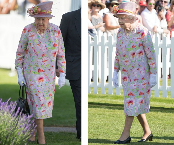 The A-list event was held on what turned out to be on one of the hottest days of the year in London (the mercury peaked at 29 degrees), but the Queen took the heat in her stride. She paired her cheery floral dress with a coordinating hat, white gloves and her trademark pearls.