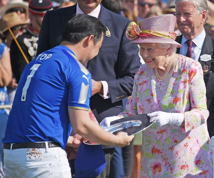 Queen Elizabeth handed out the winning awards on the final day of the 2017 Cartier Queen's Cup on Sunday, June 18. Her Majesty first presented the coveted trophy to the Guards Polo Club back in 1960.
