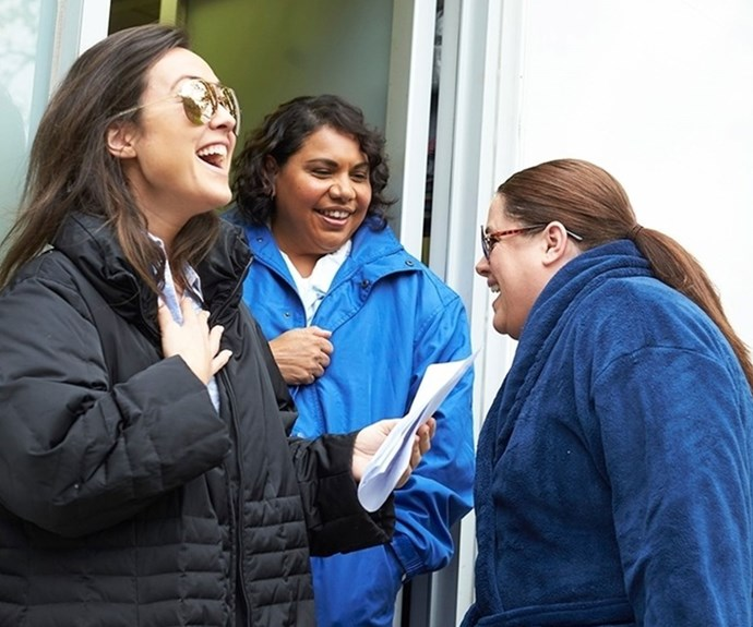 Jane, Alicia and Deborah share a laugh on-set. Credit: offspringonten