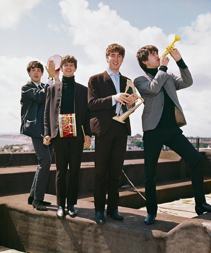 Beatles members George Harrison, John Lennon, Ringo Starr and Paul McCartney in their heyday.