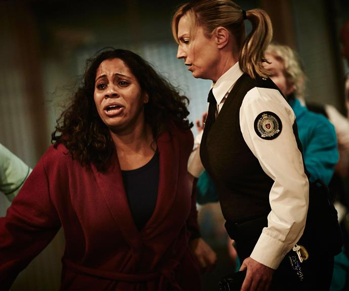 **2. Fire Killer:** When a fire swept through Wentworth Correctional Centre in the season three finale, Joan was busy confronting prisoner Jess (Georgia Chara) who had stolen Doreen's (Shareena Clanton) baby. In a vicious move, Joan choked Jess to death before leaving her body to be consumed by the flames.