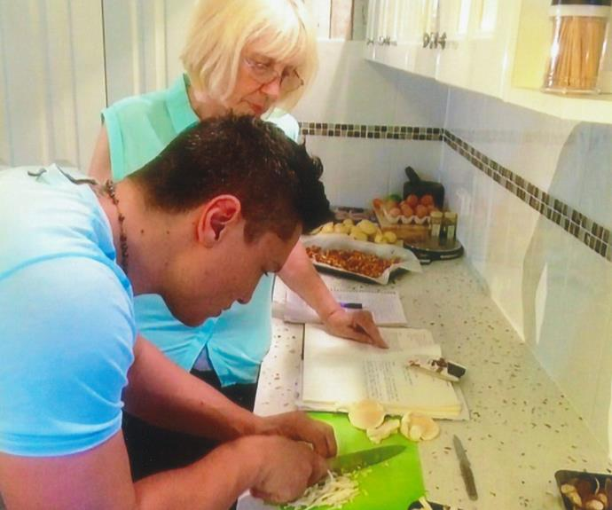 Ben cooking with his Oma.