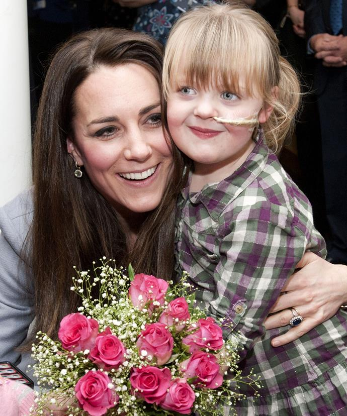 Kate made sure she got some precious one-on-one time with Demi-Leigh Armstrong when she visited the Shooting Star House Children's Hospice in Hampton, Middlesex in 2013.  **Watch their sweet encounter in the next slide!**