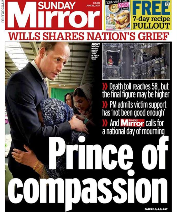 In 2017, Prince William was praised for comforting a victim of the tragic Grenfell Tower fire in London.