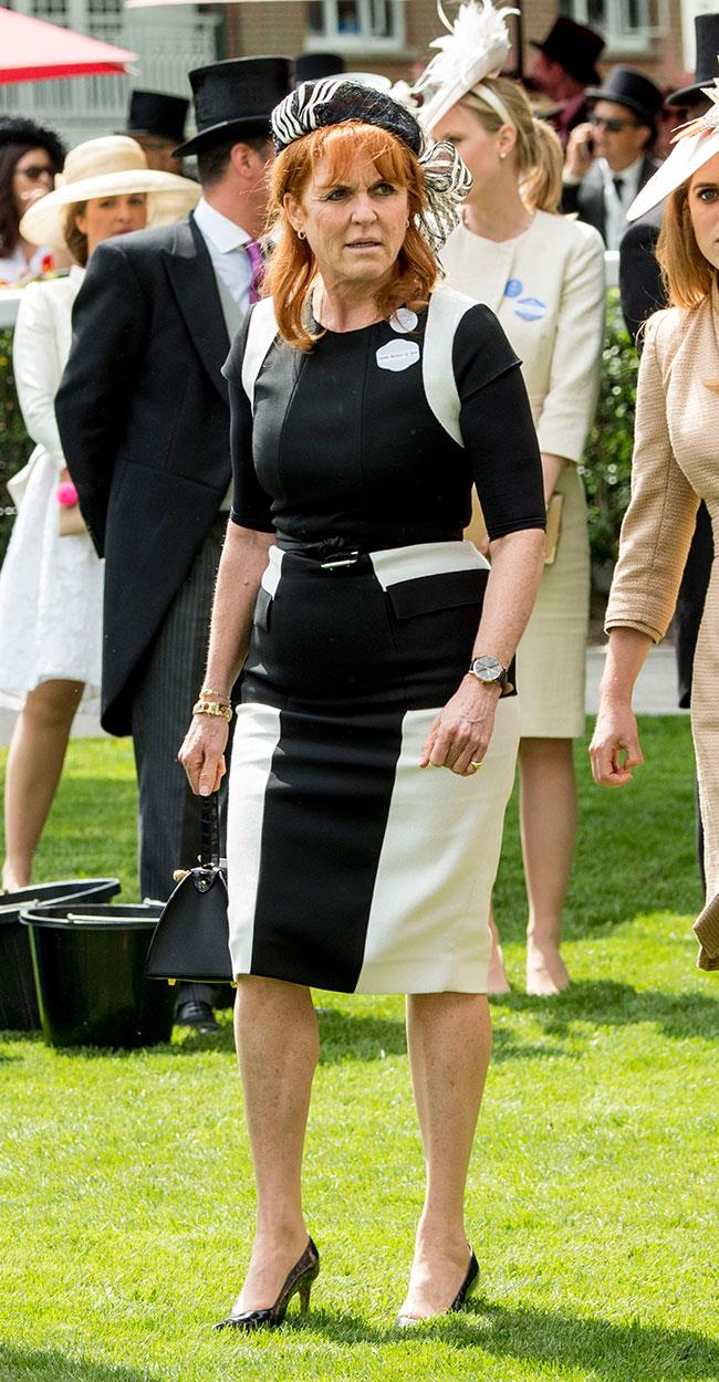 "**23. Sarah Ferguson.** [The Duchess of York joined daughters Beatrice and Eugenie](http://www.nowtolove.com.au/royals/british-royal-family/sarah-ferguson-beatrice-and-eugenie-attend-royal-ascot-38597|target=""_blank"") in a monochrome look."