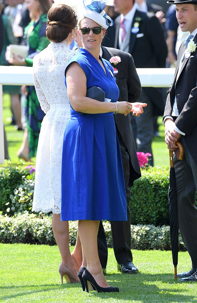 **20. Zara Tindall.** Being a professional equestrian, of course Zara Tindall made a couple of appearances. Her first, on day one, was in this stunning cobalt blue number.