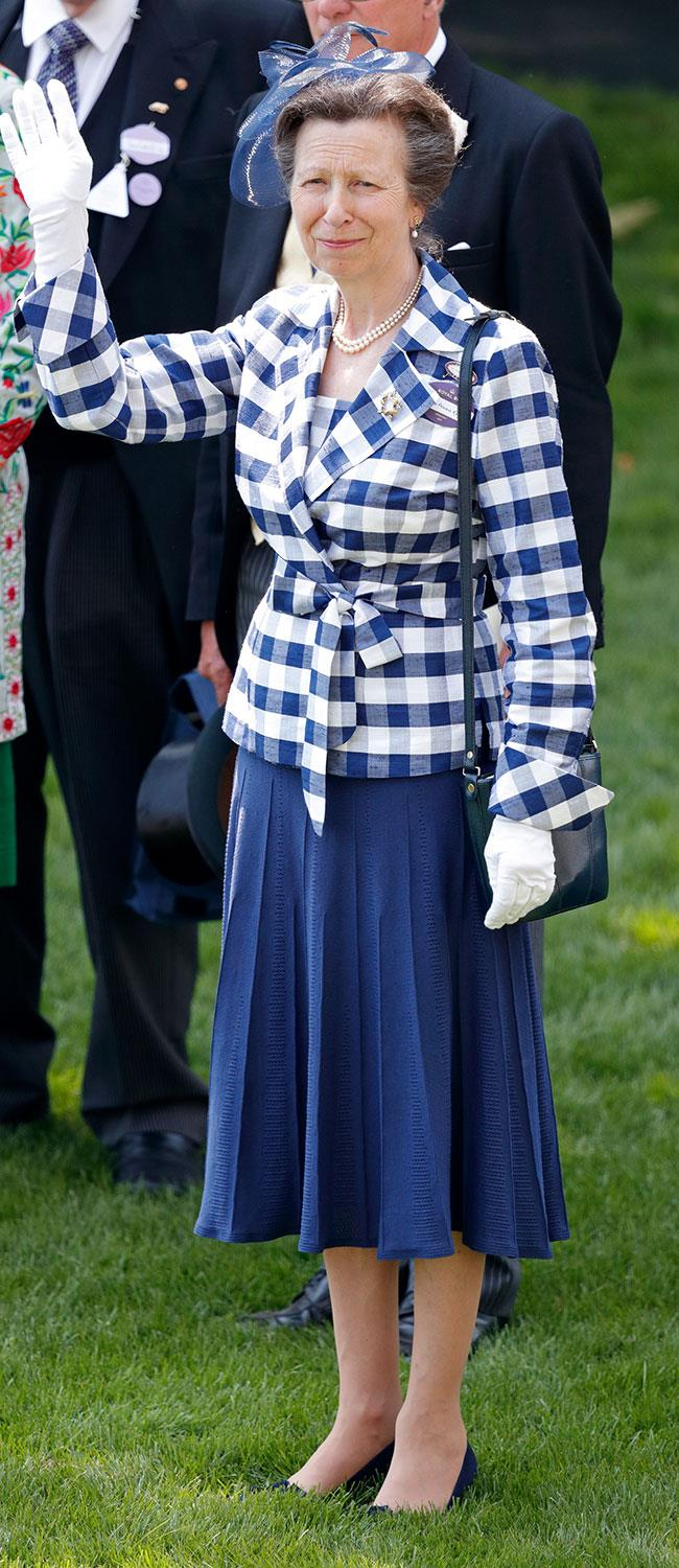 **16. Princess Anne.** Bold checks are on trend right now and The Queen's daughter got the memo for day two.