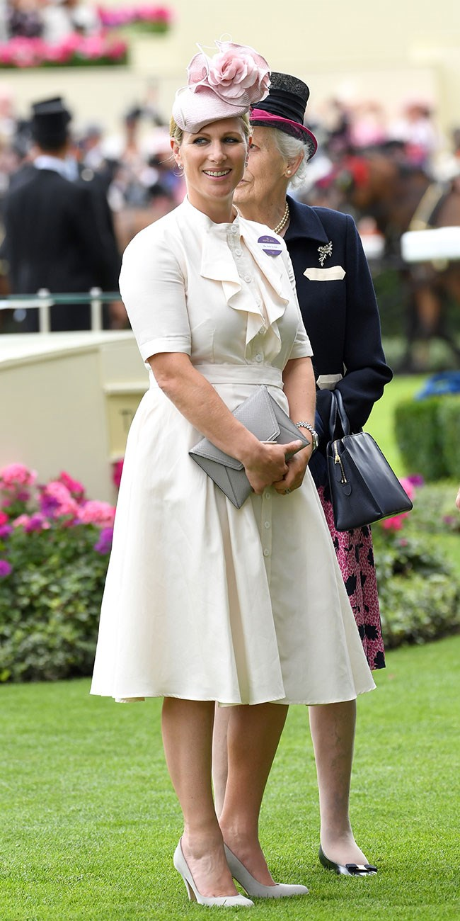 **11. Zara Tindall.** Zara was a vision in cream, with grey and pink accessories, on day three.