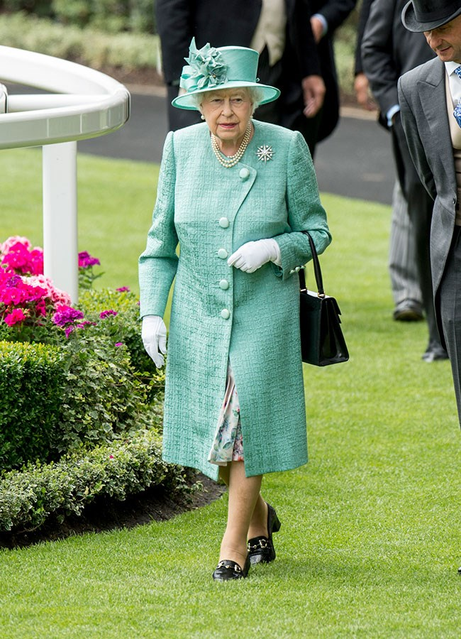 **10. Queen Elizabeth.** Day four called for pastel shades and sparkly jewels, and we're loving it!