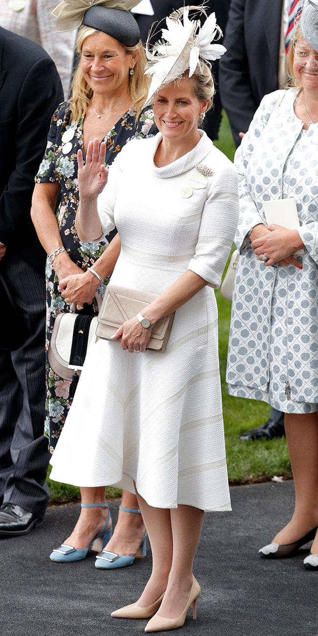 **7. Sophie, Countess of Wessex.** Sophie's third look was perfectly chic and simple.