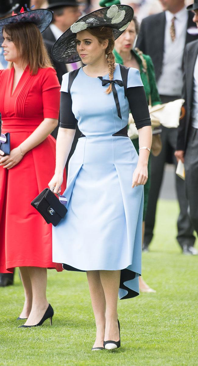 **18. Princess Beatrice.** Princess B scores beauty points for that fishtail braid and adorable ribbon. This baby blue look was her third of four looks.
