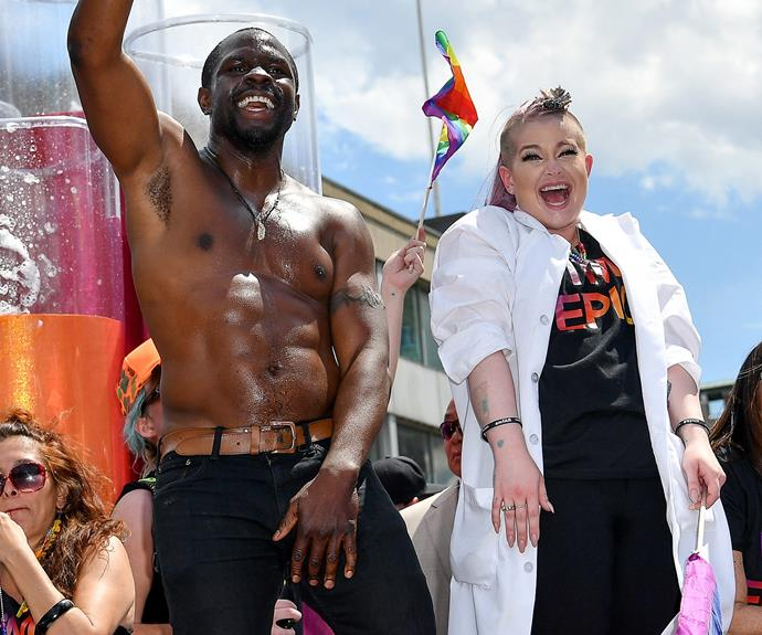Kelly pictured at the Pride Parade at the weekend.