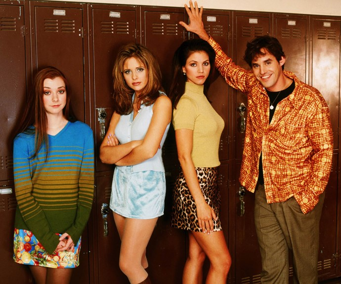 Scooby gang! Alyson with her Buffy co-stars Sarah Michelle Gellar, Charisma Carpenter and Nicholas Brendon.