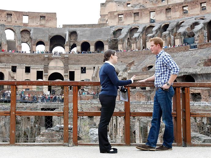 When in Rome: Prince Harry make a quick detour to the Colosseum.