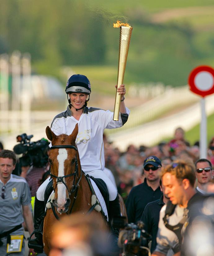 The duo rode as Zara held the Olympic flame in 2012.