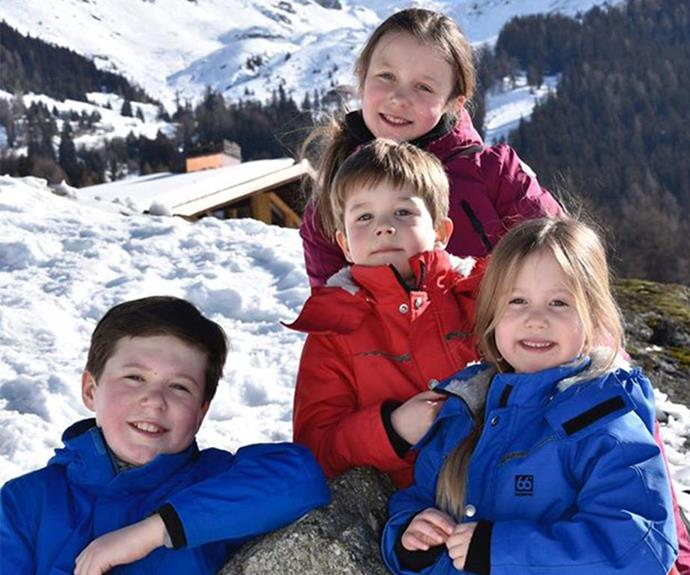 Prince Christian, Princess Isabella, Prince Vincent and Princess Josephine enjoying the snow.