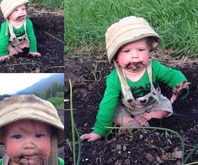 Baby Searyl Atli playing in the garden.