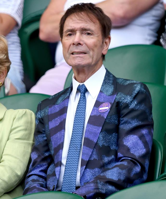 **Sir Cliff Richard** looked dapper in a snazzy purple and blue blazer.