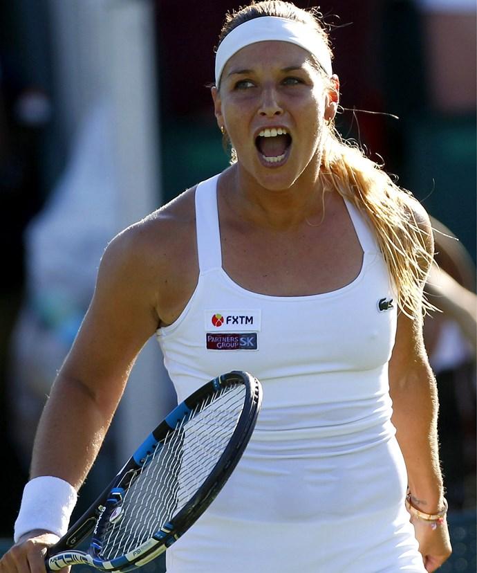 Dominika Cibulkova of Slovakia celebrates her win.