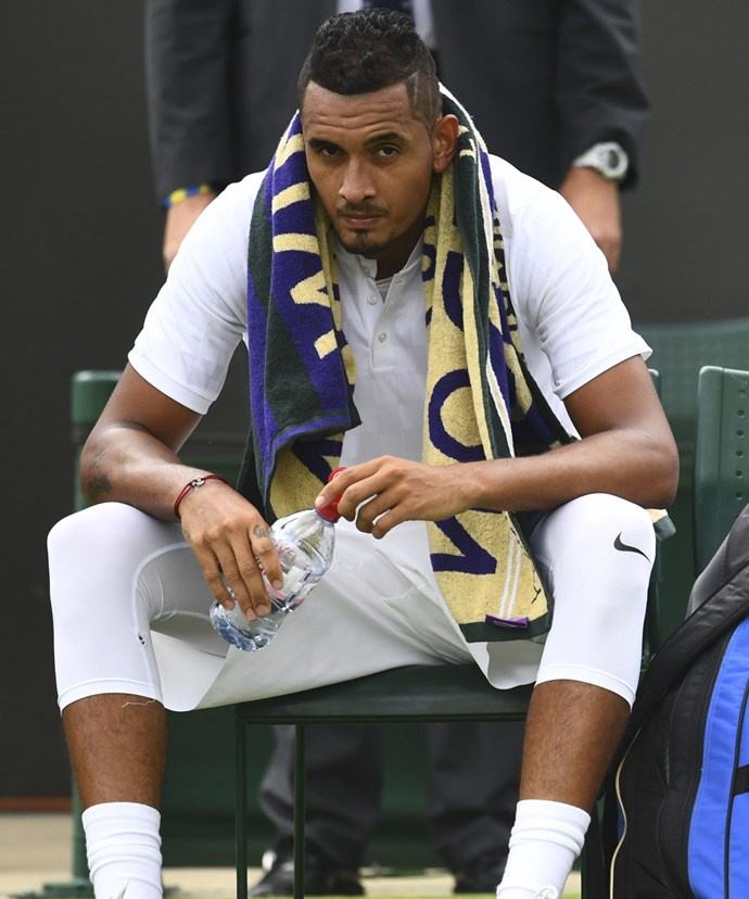 Australia's **Nick Kyrgios** was knocked out on the first day by Pierre-Hugues Herbert.