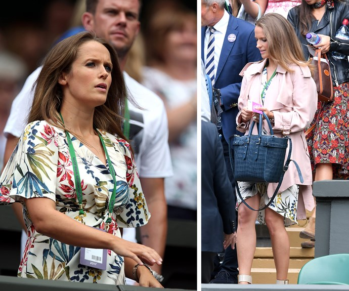 Kim Sears, who is is pregnant with her second child, watched on as her husband Andy Murray defeated Alexander Bublik on day one of the event.