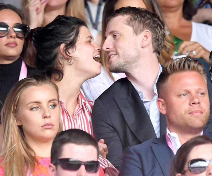 Spot the ecstatic newlyweds! Fresh from her wedding in Mallorca, Spain, Pixie Geldof put on a loved-up display with her new hubby **George Barnett**.