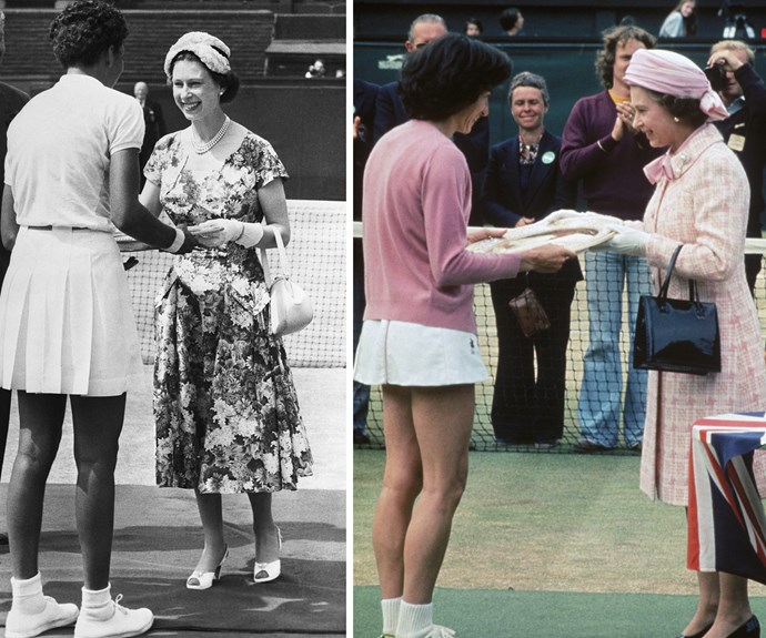 [L] In 1957 the Queen awarded the Wimbledon trophy to Alethea Gibson - the very first African American to take out the singles comp. [R] 20 years later, in 1977 she presented British tennis player Virginia Wade with her shield.