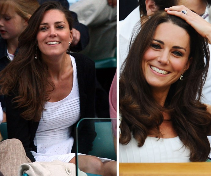 Kate Middleton (L: 2008) to Catherine, The Duchess of Cambridge (R: 2011).