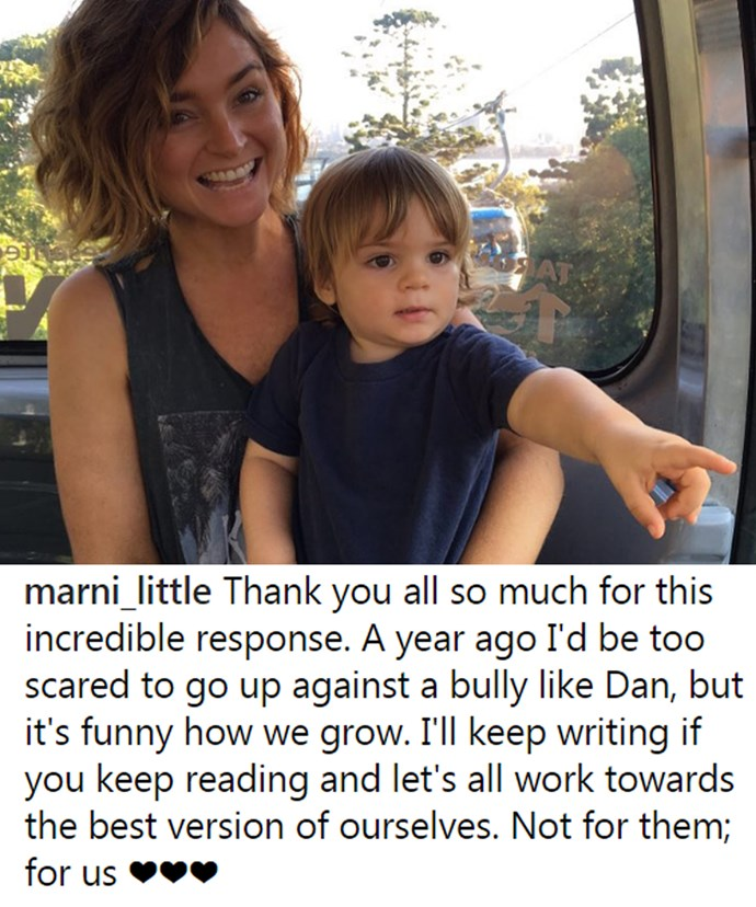 Marni, who co-parents their little boy Archer with the actor, was very honest about her thoughts on Dan's dig at her.