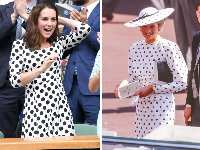 "While cheering on the stars of [Wimbledon](http://www.nowtolove.com.au/royals/british-royal-family/royals-at-wimbledon-38905|target=""_blank""), Kate wore a gorgeous polka dot dress that gave us a serious case of deja vu. Upon digging through the archives, the reason was clear - because it was a strikingly similar to the dress Princess Diana wore around the same time of year to the Royal Ascot Races in 1988. But that's not the only time the two have twinned in polka dots..."