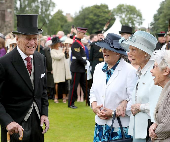 The Prince is in top form as he charms the former Wrens - members of the Women's Royal Naval Service.