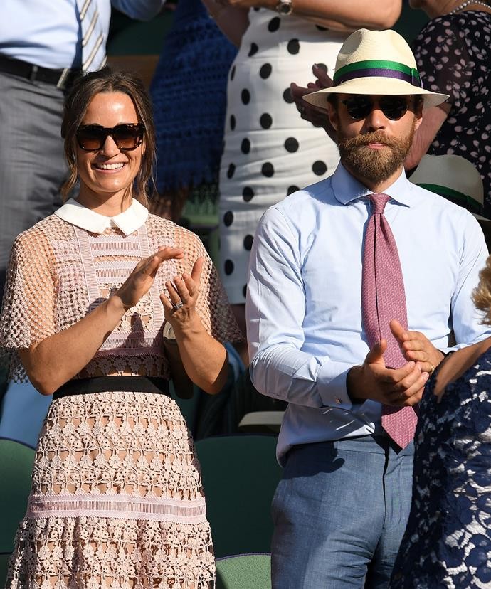Pippa and James watched Britain's Andy Murray take on Germany's Dustin Brown.