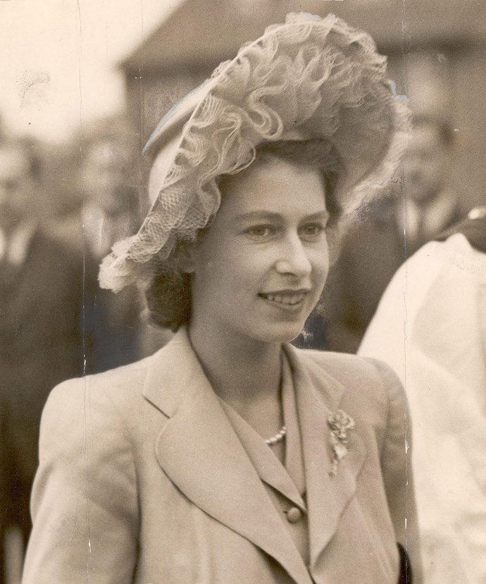 Princess Elizabeth dons a textured headpiece in 1947.