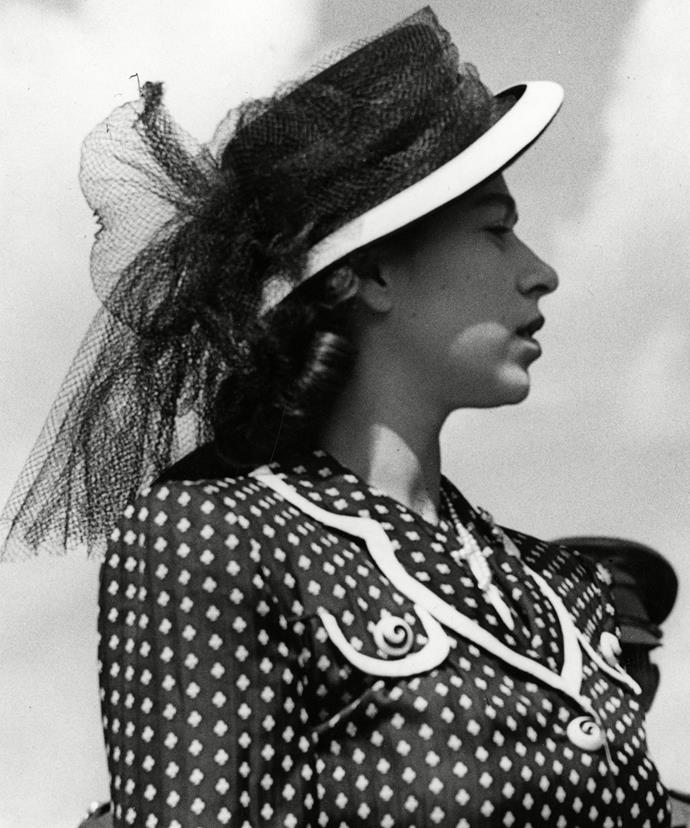 A then-Princess Elizabeth opts for a very dashing hat and a polka-dot jacket combo back in 1947. **Watch in the next slide rare footage of The Queen at the ballet!**
