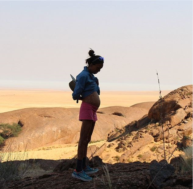 Turia first showed us her baby bump while on a safari trip in Namibia.