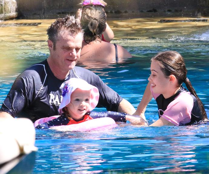 Damien and his daughter Maisie took over Trixie's swimming lessons.