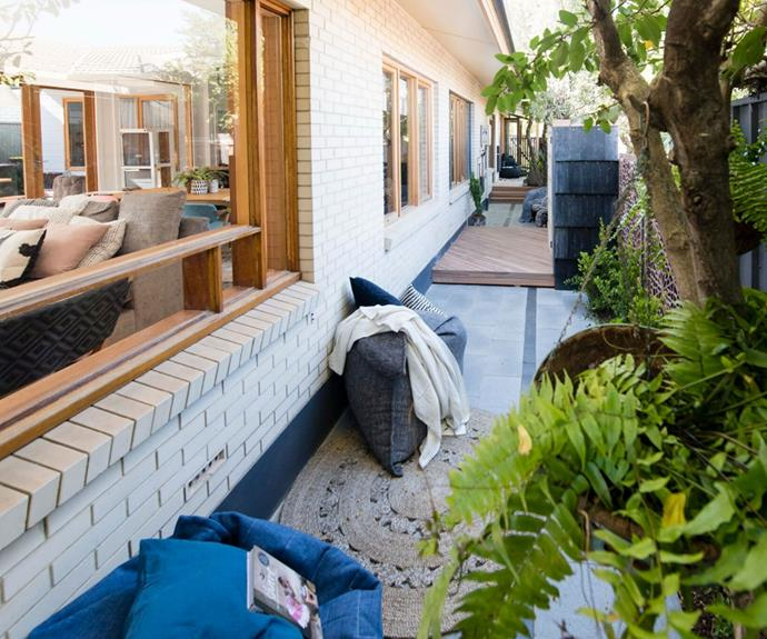 "**Kate and Harry's outdoor area:** Drew said it had an ""oasis feel"" while Wendy loved the greenery. She felt it ""adds some depth and that makes it a real space not just a side passage""."