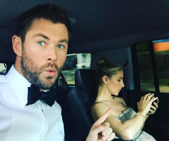 **Husband Goals:**  Chris has uploaded many an adorable shot of himself and his wife Elsa.