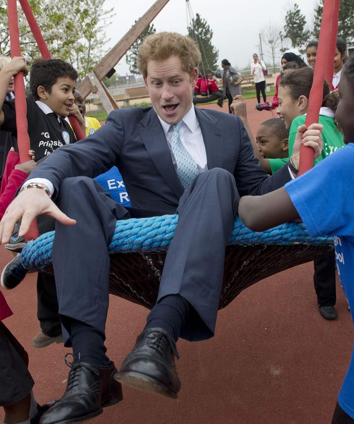 Big kid at heart! Just like his late mother, Harry is so good at connecting with people.