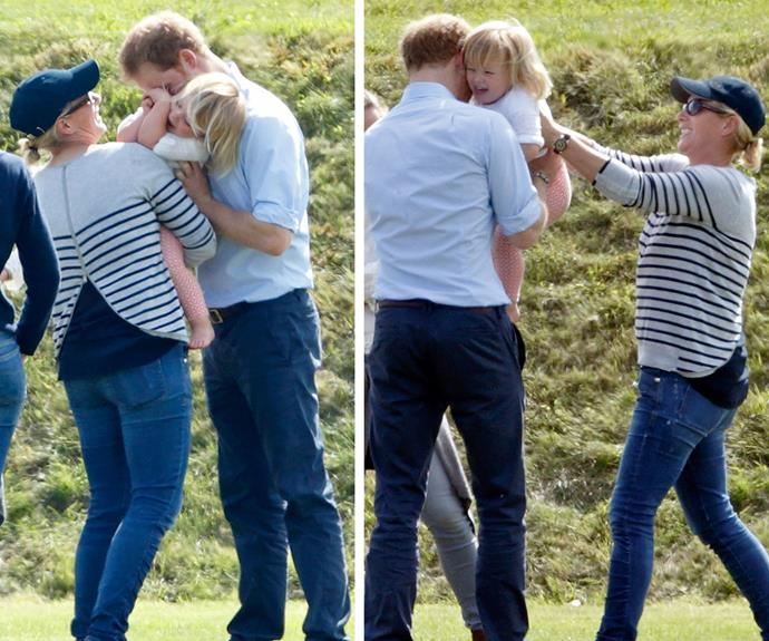 Cuddles with his adorable cousin **Mia Tindall** at the polo in 2016.