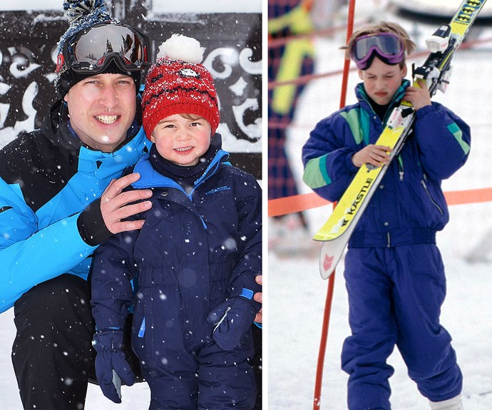 Last year the Cambridges whisked the kids away to the French Alps, and we were reliving jr baby William's skiing days.