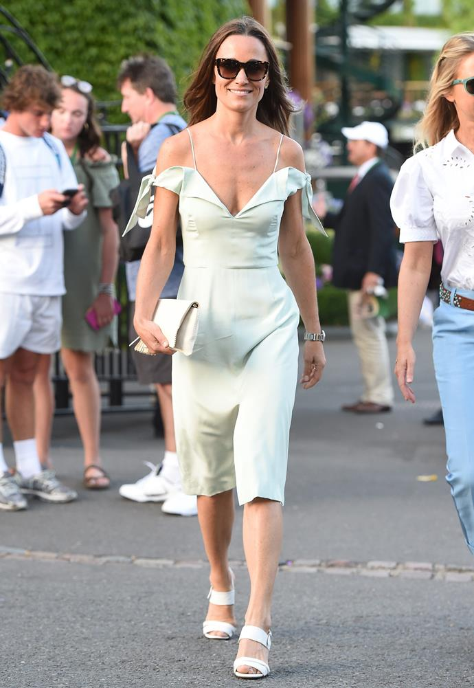Pippa is a vision in her $496 off-the-shoulder silk dress.