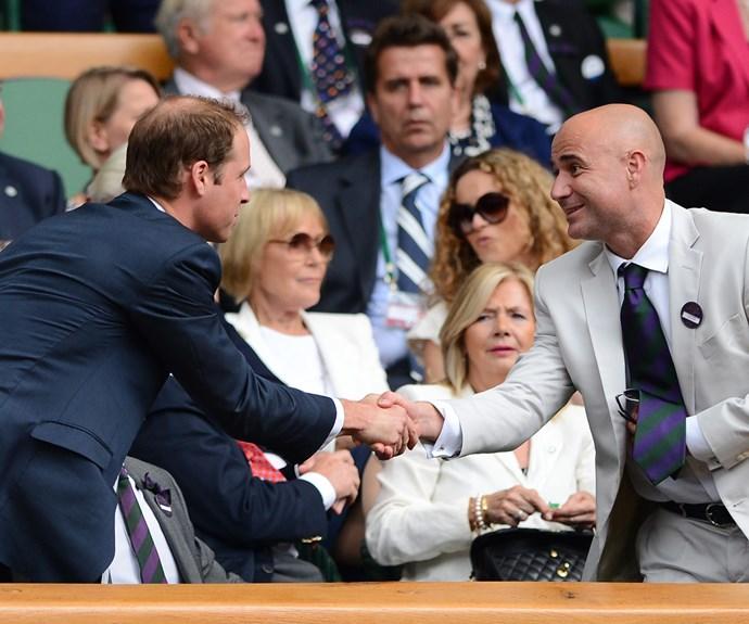 The tennis royalty met the Cambridges in 2012.