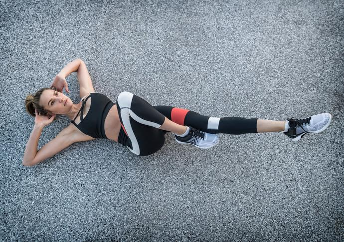 Rachael's bicycle crunches for Reebok were harder than they look...